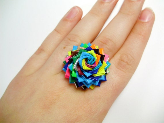 One of a Kind Duct Tape Ring No. 12 - Colorful Duck Tape Rose Ring