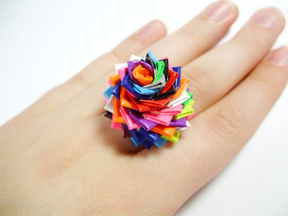 One of a Kind Duct Tape Ring No. 13 - Duck Tape Rose Ring
