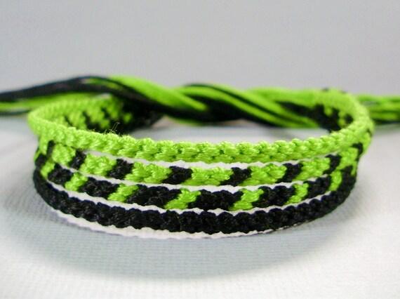 Lime Green and Black Friendship Bracelet Set
