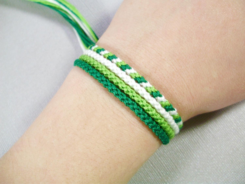 Spring Green Friendship Bracelet Set Four Handmade Bracelets