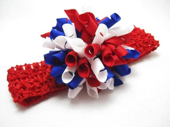 Hair Bow NY Giants Red, White, and Blue Korker  with Red Headband by Foxy Baby Designs