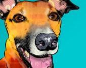 "Logan, 11x14"" Greyhound Pop Art Print, Whippet Art, Dog Portrait"