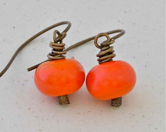 Coral Bead Earrings on Natural Brass Ear Wire