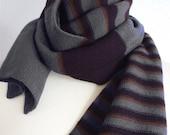 RESERVED for Janet - Merino Wool Scarf - GrayEggplantBrown