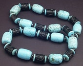 Chunky Turquoise Necklace with Carved Wood