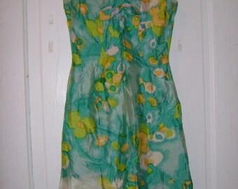gorgeous green floral vintage 60s party dress