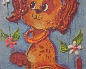 vintage kitschy big-eyed puppy lithograph by edna vierra