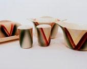 Steubenville Horizon in Plaids  - Serving pieces - salt, pepper, sugar, creamer, butter dish