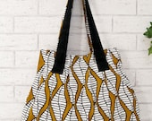 Shoulder pleated bag. Tote bag, in mustard, white and black leaves pattern. OOAK
