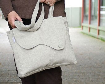 Elegant tote bag in linen. Available in Taupe, grey or bleached white. Everyday purse