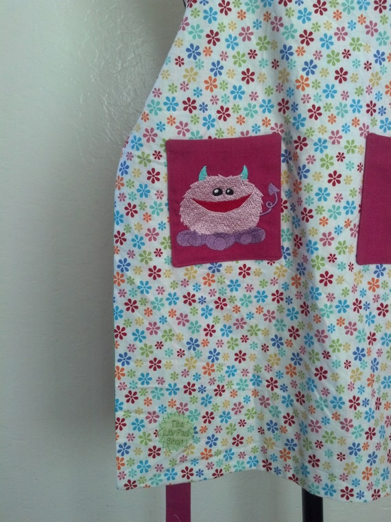 Sale Little Monsters and Chef Hats Girls Reversible Apron