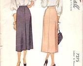 Vintage 40s 1940s pattern 1948 Skirt Pattern 40s McCalls 7275 24 waist