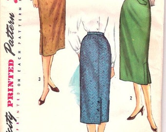 Vintage 1950s 50s Pencil Straight Skirt Pattern 26 waist Simplicity 1817