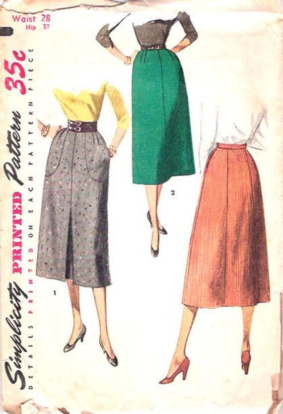 Vintage 50s Straight Skirt Pattern Pockets 28 waist Simplicity 4413