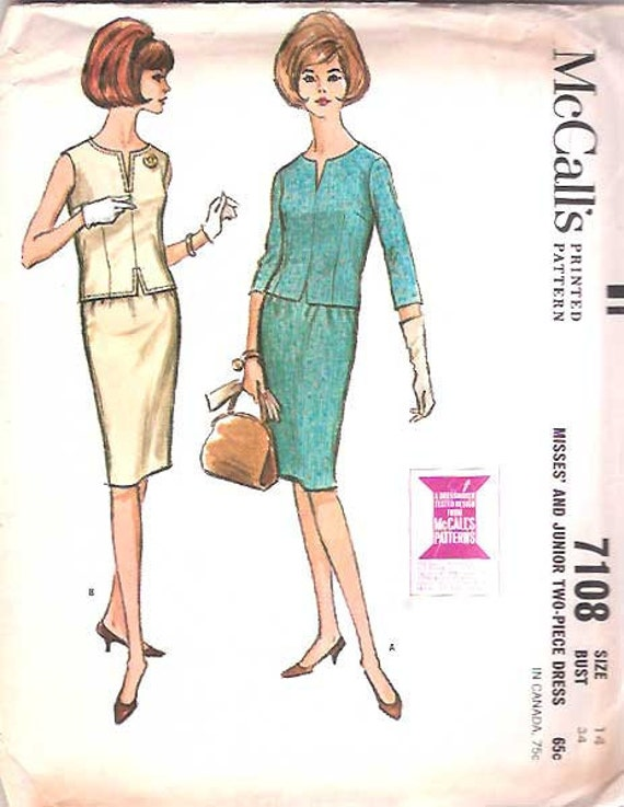 Vintage 1960s 60s Dress Pattern 2 piece Skirt Blouse 34 bust size 14 McCalls 7108
