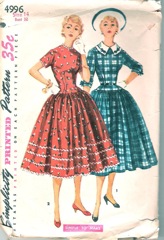 Vintage 50s Dress Pattern 1950s Full Skirt Party Dress Rockabilly Simplicity 4996 32 bust size 14