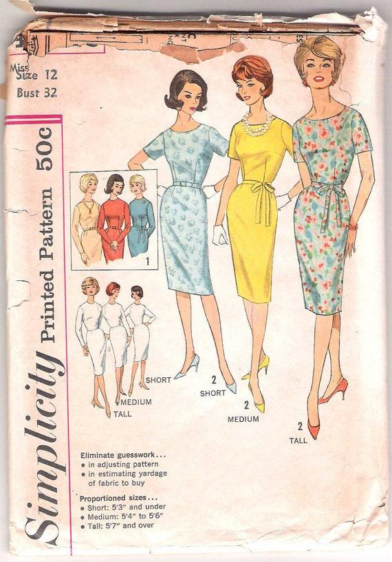 Vintage 60s Dress Pattern Wiggle Sheath UNCUT FF 32 bust size 14 Simplicity 4252