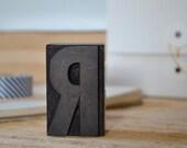 2 inch vintage letterpress block- letter r