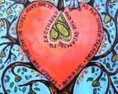 Valentine heart for lover retablos retablo art4thesoul gift for him or her romantic love Heart Sycamore Fig Tree of Joy Retablo