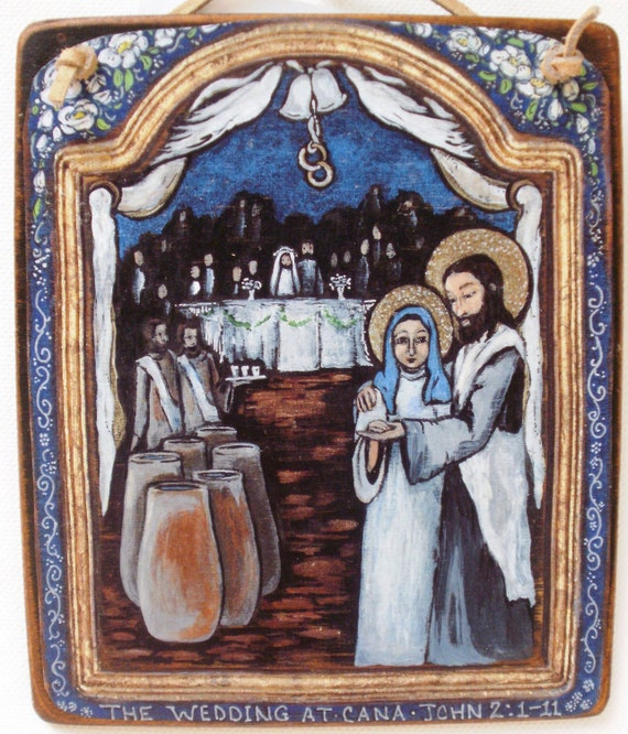 Bridal Shower Wedding Gift Shower gift for couple  - The Wedding at Cana - Retablo wall art plaque