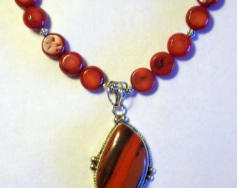 Natural Red Coral Silver Round Beaded Necklace Sterling Silver Red Black Jasper Pendant Necklace Chunky Bold Red Stone Statement Necklace