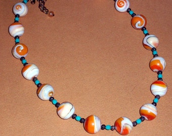 Big Chunky Oyster Shell Round Bead Necklace Antique Copper Orange Ivory Shell Filigree Beaded Necklace Turquoise Blue Crystal Bead Necklace