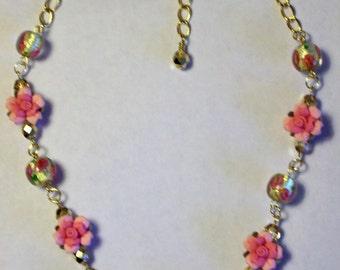 Lampwork Glass Gold Foil Pink Flower Beaded Necklace Polymer Pink Rose Flower Necklace Shabby Chic Bead Necklace Gold Crystal Bead Necklace