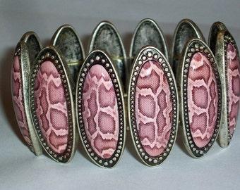 Pink Leopard Bracelet Antique Silver Pink Slider Beaded Bracelet Big Bold Chunky Bracelet Funky Bracelet Large Oval Wide Metal Bracelet
