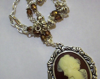 Ivory Brown Cameo Necklace Antique Silver Victorian Lady Cameo Pendant Necklace Brown Czech Crystal Necklace Tibetan Silver Bead Necklace