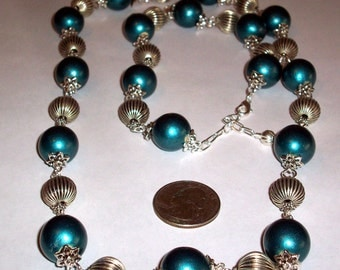 Unique Large Metallic Teal Blue Wood Bead Antique Silver Ornate Pewter Beaded Long Necklace Earrings Multi Big Bead Link Beaded Necklace