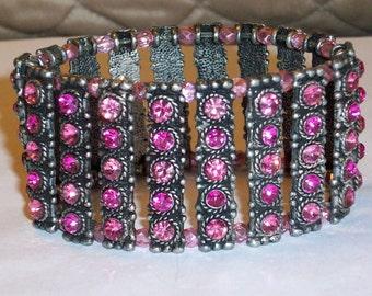 Pink Swarovski Crystal Bracelet Antique Silver Crystal Bead Bracelet Multi Crystal Bracelet Chunky Crystal Statement Bracelet Metal Bracelet