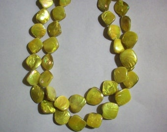 Neon Yellow Shell Necklace Multi Strand Necklace Yellow Round Beaded Necklace Big Bold Chunky Necklace Summer Necklace Big Shell Jewelry