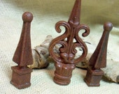 SET of 3...Rusty, unique finial decor for your home and garden