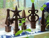 FIVE...Wonderfully Rusty Iron Finials for your Home and Garden Decor