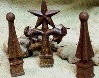 THREE beautifully rusty cast iron finials, unique decor for your home