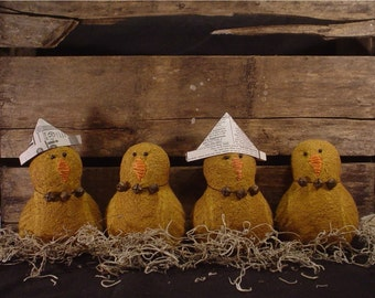Aged Primitive Folk Art Easter, Spring, Or All Year Chicks and Farm Brown Eggs E - Pattern