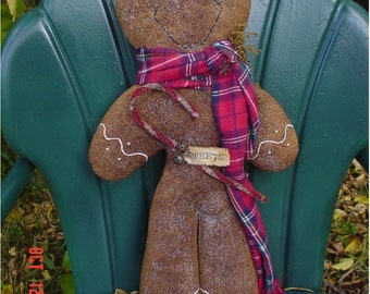 Christmas Winter Gingerbread Man Door Doll, Prop Up Doll, Hanger With Sugar and Icing - E Pattern