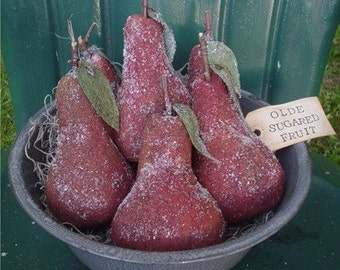 Primitive Aged Pears E  Pattern - Big Red Ripe Christmas Pears Bowl Fillers, Ornaments, Ornies - E Pattern