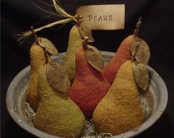 Primitive Aged Pears E  Pattern - Big Ripe Pears Bowl Fillers, Ornaments, Ornies - E Pattern