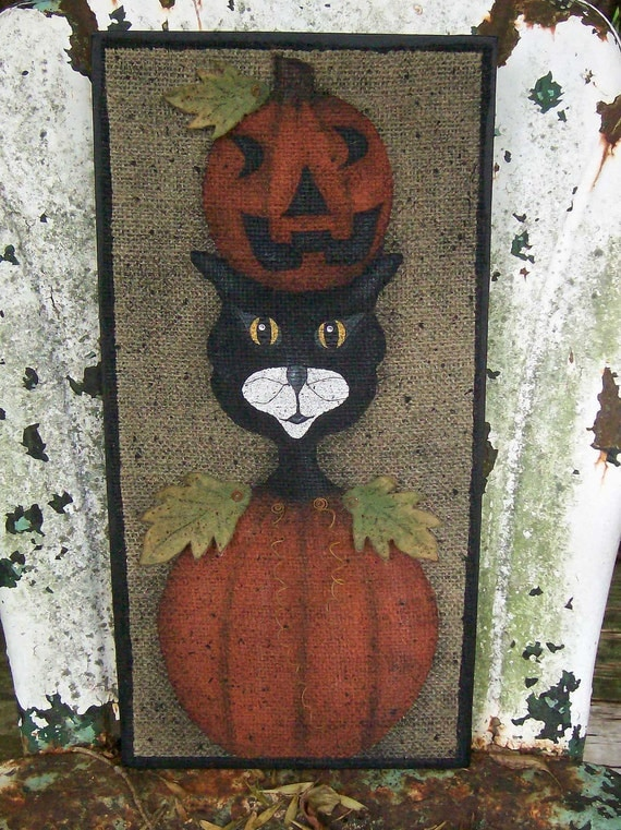 Primitive Folk Art Pumpkin Cat With Crystal Eye Accents Mixed Media Original OOAK Painting