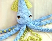 Squid Doll Amigurumi Crochet Animal- Blue and Lime Green- Custom Made Free Domestic Shipping