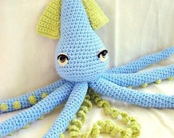 Squid Doll Amigurumi Crochet Animal- Blue and Lime Green- Custom Made Free Domestic Shipping