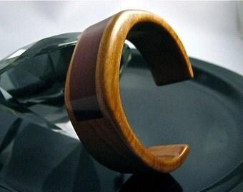 Clearance Item: Handmade Cherry and Brazilian Redwood cuff bracelet