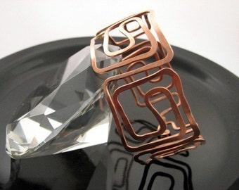 Copper bracelet beautiful and Handmade Greek Key design inspired  bangle