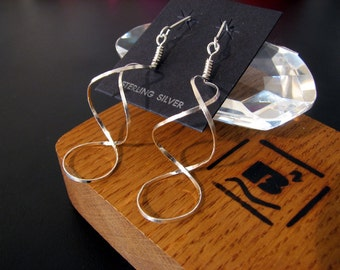 Sterling Silver twisting spiral earrings, beautiful and handmade