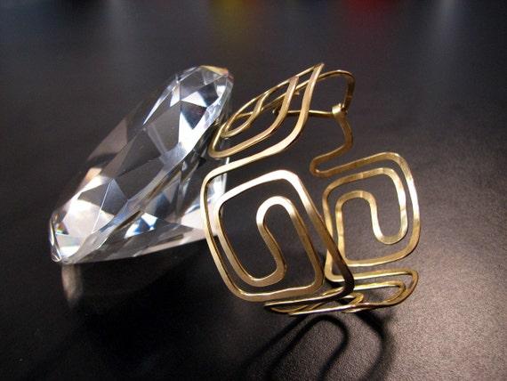 Handcrafted Greek Key design bracelet made from Jeweler's Brass