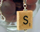 Bali... authentic Scrabble Tile Letter pendant with Free ball chain necklace.  All letters available.  a b c d e f g h i j k l m n o p q r s t u v w x y z plus spanish characters
