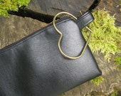 Black Clutch with Heart Ring