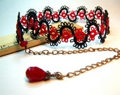 Filigree Lace Tatted Collar chocker - Ruby Red and Black with ruby red crystal - made to order