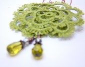 Filigree Lace Tatted Rose Earrings -  Green Olive Drops